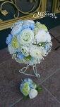 *misuzu* ころりんラナンとサムシングブルーの清楚なラウンドブーケ・ブトニア025 前撮り・海外挙式・リゾ婚 ブライダル