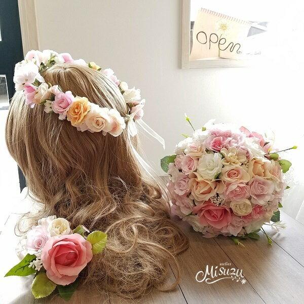 *misuzu*ベビーピンク・ピーチ〜サーモン 花冠かパーツ選べます!前撮り・海外挙式・リゾ婚 ブライダル ウェディングブーケ 造花ブーケ