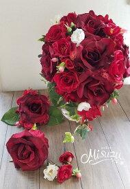 *misuzu* 赤のインパクト!涙型ティアドロップス 038 前撮り・海外挙式・リゾ婚 ブライダル レッド 赤バラ ウェディングブーケ 造花ブーケ