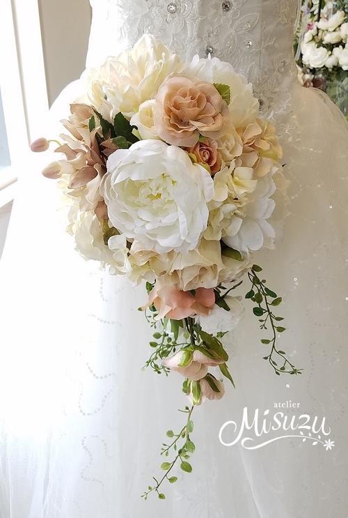 *misuzu*クラッシック♪ 前撮り・海外挙式・リゾ婚 ブライダル ピオニー ウェディングキャスケードブーケ 造花ブーケ