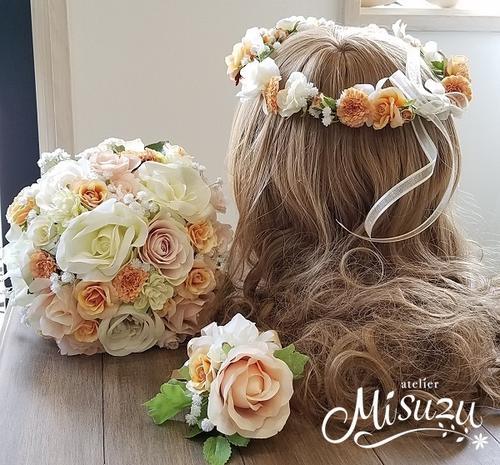*misuzu*  淡いピーチ〜サーモン 花冠かパーツ選べます!前撮り・海外挙式・リゾ婚 ブライダル ウェディングブーケ 造花ブーケ