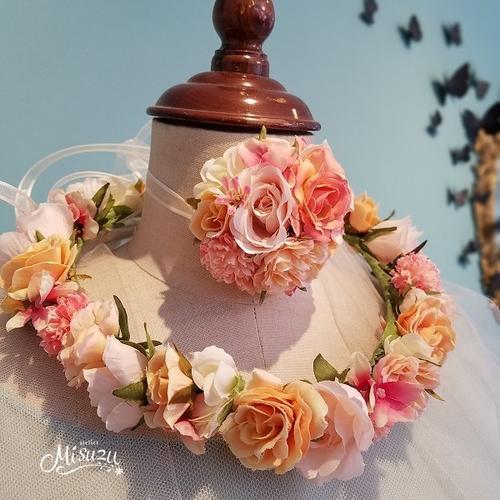 *misuzu* マットなアプリコット〜オレンジ系カラー 花冠 005 前撮り ウェディング フェス ガーデンウェディング 海外挙式に