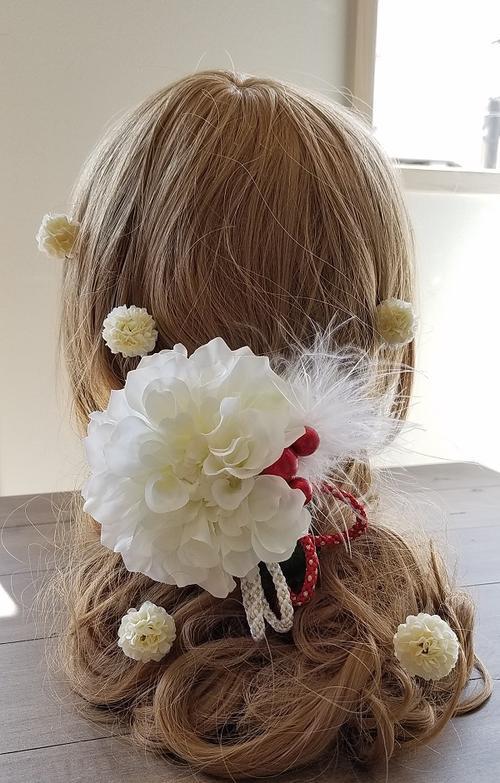*misuzu* 6パーツ!ほっこりダリア 髪飾り 彩り和紐やパールアクセント 前撮り撮影 七五三 成人式・和婚など使い道多数 ヘッドコサージュ 浴衣