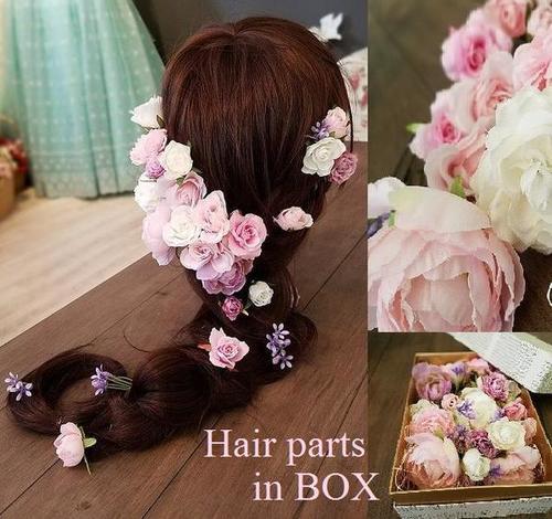 *misuzu*◆BOX入りヘッドドレス◆ピンク〜ラベンダーグラデのヘアパーツ20Pセット 花冠風 ラプンツェル風アレンジ自由自在 ウェディング ヘッドドレスブライダル 髪飾り