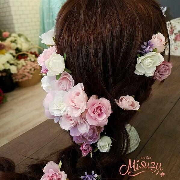 *misuzu*◆ヘッドドレス◆ピンク〜ラベンダーグラデのヘアパーツ20Pセット 花冠風 ラプン アレンジ自由自在 ウェディング ヘッドドレスブライダル 髪飾り