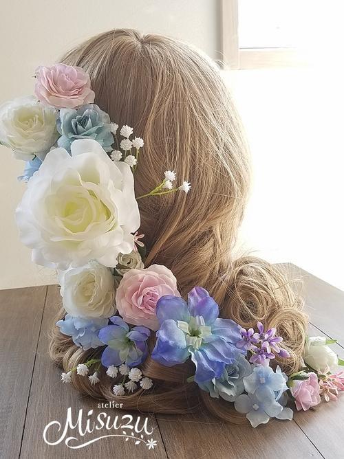 *misuzu*大輪白薔薇xブルーグラデ ガーデンパーティ 結婚式 2次会 ヘッドドレス ブライダル 032