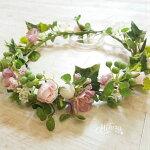花冠前撮り海外挙式結婚式ウェディングナチュラルモーブ系ブライダル