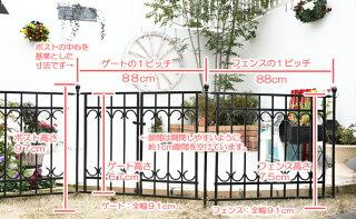 ロゼッタシステムフェンスアベニュー門扉セット本格的なアイアンフェンスが簡単設置!商品型番:ssipn-7022set