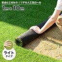 人工芝 芝生 色までリアルなロール人工芝 ライト 厚み10mm(幅1m × 長さ10m) 安全検査実施済 水はけ穴有り 短芝 fme…