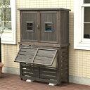 室外機カバー 木製 フラップルーバー室外機カバー パラソル ジャンボサイズ 木製収納庫 Potage ポタジェ ACトールボックス付き セット エアコンカバー + 収納庫 物置 大型 ptg-ac711flac