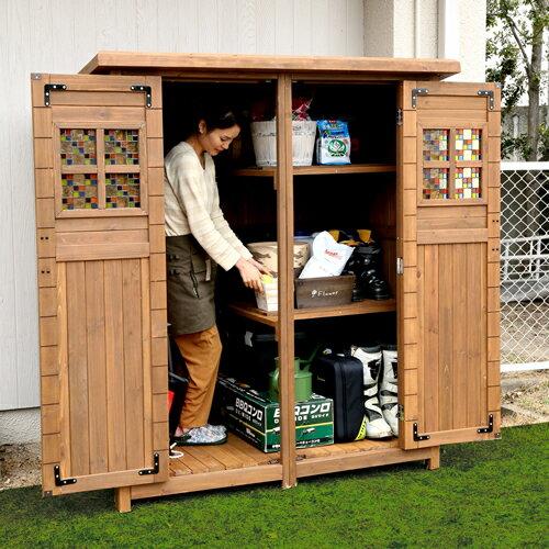 大人が入れる大型サイズの木製物置!扉にはめ込んだステンドグラスがお庭に映える収納庫ポタジェモザイク 木製物置小屋【送料無料!】商品型番:ptg-177lbr