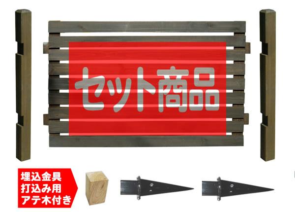 ボーダーフェンス ロータイプ1面用セット(スタンダード+埋込み金具)目かくし(目隠し)や境界にウッドフェンス・木製フェンス・ゲート(門扉)をDIY!商品型番:bfst-loub