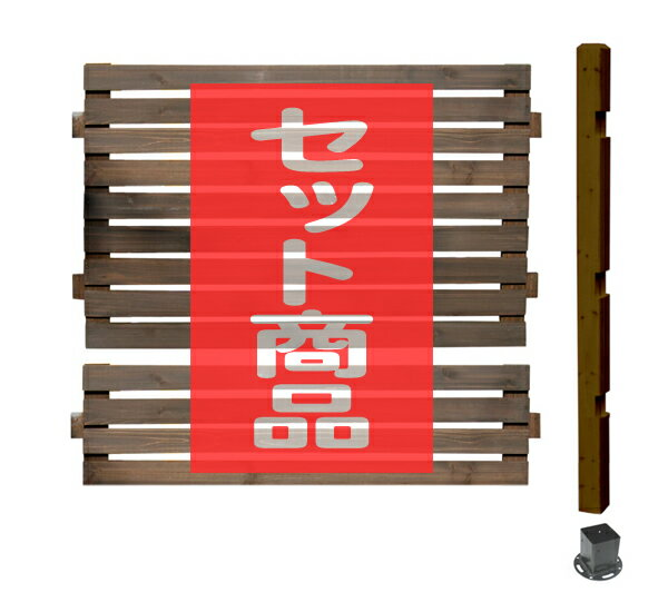 ボーダーフェンス ミドルタイプ延長用セット(スタンダード+平地金具)目かくし(目隠し)や境界にウッドフェンス・木製フェンス・ゲート(門扉)をDIY!商品型番:bfste-mdhb