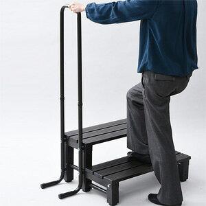 \ページ限定・ティースプーン付/ 手すり付き アルミ製 ステップ台 【送料無料】 【取手付きアルミ2段踏み台 a16440】 [手すり付きで安心して昇降できる踏み台 調節可能な脚部裏のアジャ