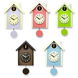 ハト時計 【さんてる 日本製 手作り 鳩時計 北欧カラー SQ03 SQ04】 [送料無料・代引料無料] 振り子付き 壁掛け時計 新築祝い ウォールクロック 入学祝い ハト時計