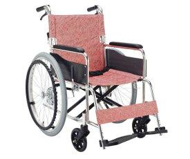 車椅子 (アルミ製) EX-50KP 自走式 小花ピンク 640×995×875mm