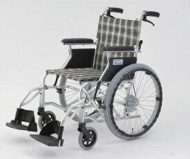 最大P20倍〜6/11(木)1:59 自走介助式車椅子(アルミ製・背折れタイプ) HTB-20D-CG(チェックグリーン) 自走式 630×970×850mm
