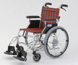 最大P20倍〜6/11(木)1:59 自走介助式車椅子(アルミ製・背折れタイプ) HTB-20D-CR(チェックレッド) 自走式 630×970×850mm