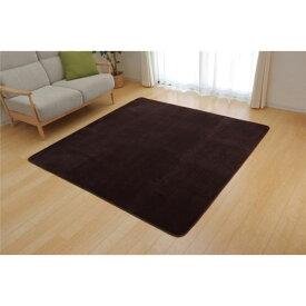 ラグマット カーペット 3畳 洗える 抗菌 防臭 無地 『ピオニー』 ブラウン 約200×250cm (ホットカーペット対応)