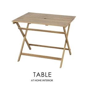 【スーパーセールクーポン配布中】折りたたみテーブル フォールディングテーブル パラソル使用可 机 テーブル ガーデン リゾート 木製 簡易 アカシア アウトドア バーベキュー おしゃれ