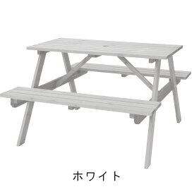 テーブル&ベンチ W120 木製 アウトドア ホワイト 4人用 ガーデン 新生活