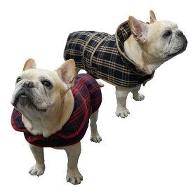 フレンチブルドッグ服 パグ服 チェック柄イングリッシュコート(中綿) フレンチブルドッグ服 パグ服 犬 服 犬服 犬の服 ダウンコート ダウンジャケット フレブル 洋服