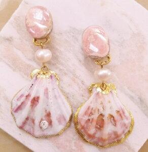 SHELL WE DANCE? シェルイヤリング ピンク 貝 天然石 揺れるイヤリング 春夏ファッション レディースファッション 人気 世界に一つだけ 一点もの ラグジュアリー リゾート 桜 シーシェル 自然派