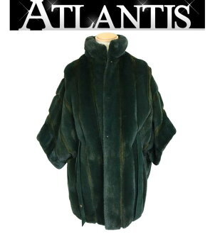 Loro Piana Ginza store ロロピアーナ SP order cape coat mink silk fur poncho outer is green