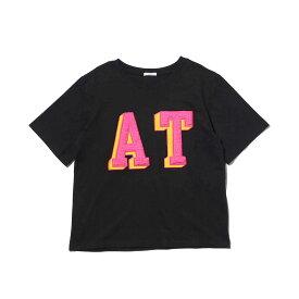 atmos pink ボアロゴ ワッペン Tシャツ(アトモスピンク ボアロゴ ワッペン Tシャツ)BLACK【レディース】18FW-I
