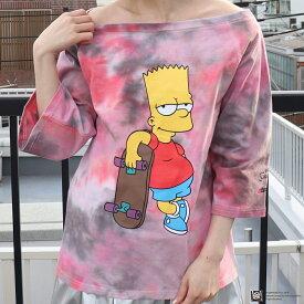 The Simpsons x atmos pink ワンショル タイダイ Tシャツ(シンプソンズ x アトモスピンク ワンショル タイダイ Tシャツ)PINK【レディース 半袖Tシャツ】19SP-I