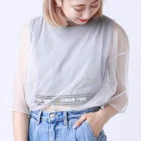atmos pink オーガンジー Tシャツ TX(アトモスピンク オーガンジー Tシャツ TX)WHITE【レディース 半袖Tシャツ】19SU-I