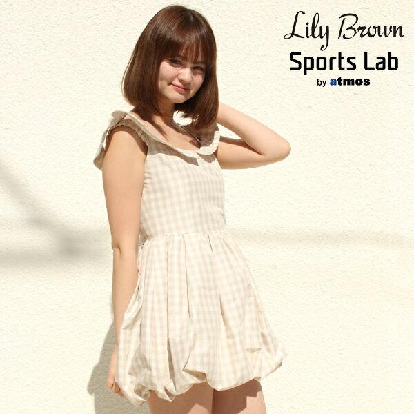 LILY BROWN GINGHAM CHECK BALLOON DRESS【リリー ブラウン ギンガム チェック バルーン ドレス】BEIGE14FW-I