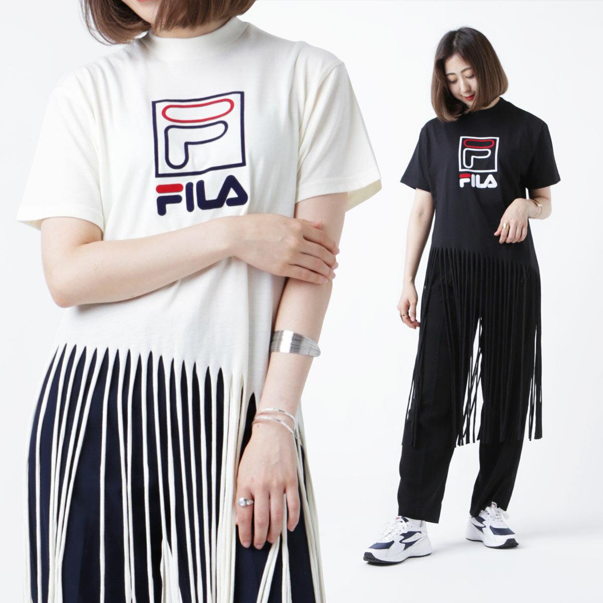 FILA x atmos pink FRINGE LONG T-shirt (フィラ x アトモスピンク フリンジ ロング Tシャツ)18AW-S