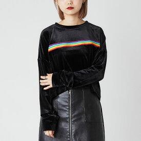 atmos pink × FILA ライン ベロア トップス(フィラ ライン ベロア トップス)BLACK【レディース 長袖Tシャツ】19FA-S