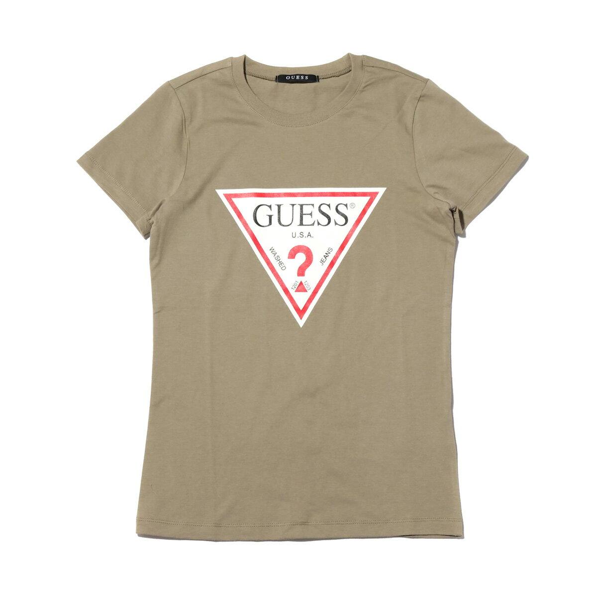 GUESS WMN'S S/SLV LOGO TEE SHIRT(ゲス ウィメンズ ショートスリーブ ロゴ Tシャツ)(KHAKI)【レディース】18SU-I