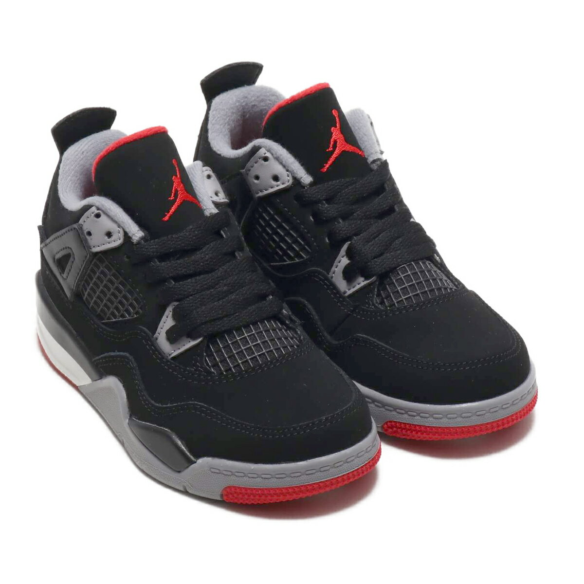 NIKE JORDAN 4 RETRO (PS)ナイキ ジョーダン 4 レトロ PS)BLACK/FR RED-CMNT GRY-SMMT WHT【キッズ スニーカー】19SU-S