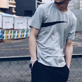 NIKE AS M NK DRY TEE DB LOGO SWOOSH (ナイキドライフィットドライドライブレンドロゴスウッシュ T-shirt) (DK GREY HEATHER/BLACK) 17SU-I