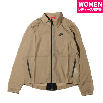 NIKE AS W NSW TCH HPRMSH JKT (Nike women technical center hyper mesh jacket) (KHAKI/BLACK) 17SU-S