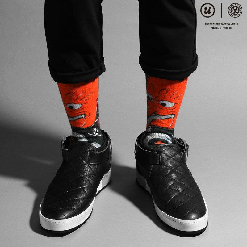 "THREE TIDES TATTOO × UBIQ ""IREZUMI"" SOCKS (Kitsune) Designed by MUTSUO(スリー タイズ タトゥー x ユービック ""刺青"" ソックス)【メンズ】【靴下】16FW-I"