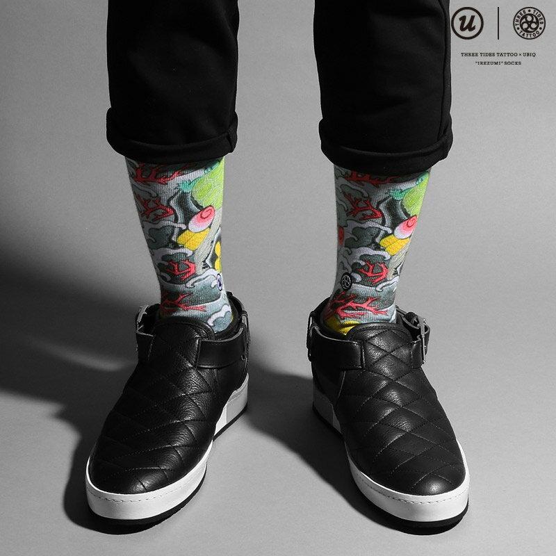 "THREE TIDES TATTOO × UBIQ ""IREZUMI"" SOCKS (Takarazukushi) Designed by NAMI(スリー タイズ タトゥー x ユービック ""刺青"" ソックス)【メンズ】【靴下】16FW-I"
