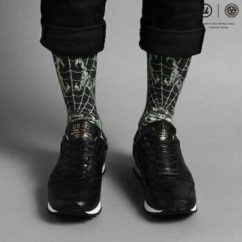 "UBIQTHREETIDESTATTOO×UBIQ""IREZUMI""SOCKS(Dokugumo)DesignedbyGanji(スリータイズタトゥーユービックイレズミソックス(ドクグモ)デザインドバイガンジー)(BLACK)【メンズ靴下】17SS-I"
