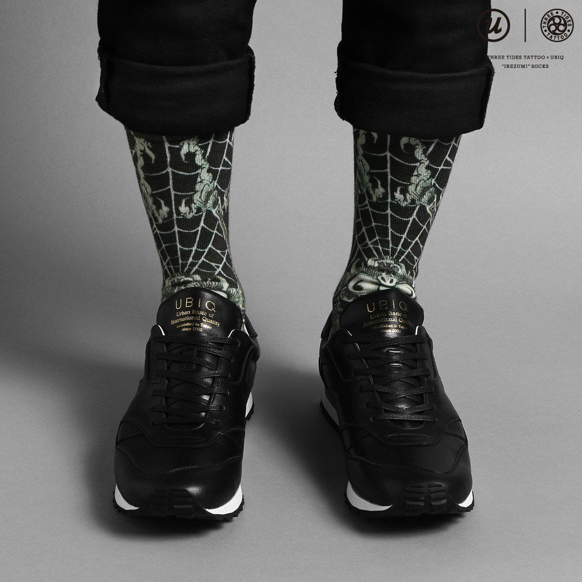 "UBIQ THREE TIDES TATTOO × UBIQ ""IREZUMI"" SOCKS (Dokugumo) Designed by Ganji (スリータイズタトゥー ユービック イレズミソックス (ドクグモ) デザインド バイ ガンジー) (BLACK)【メンズ 靴下】17SS-I"