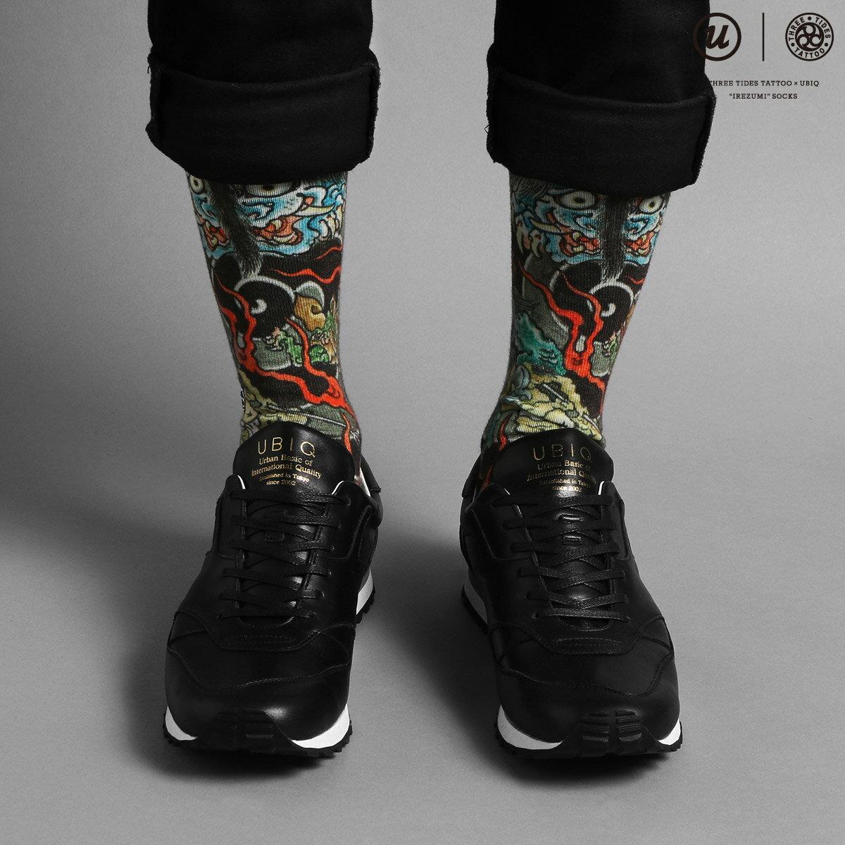 "UBIQ THREE TIDES TATTOO × UBIQ ""IREZUMI"" SOCKS (Youkai) Designed by Ganji (スリータイズタトゥー ユービック イレズミソックス (ヨウカイ) デザインド バイ ガンジー) (BLACK)【メンズ 靴下】17SS-I"