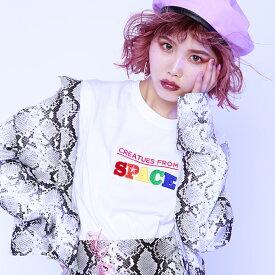 atmos pink × ayayan 刺繍 ワイドTシャツ(アトモスピンク × アヤヤン シシュウ ワイドティーシャツ)WHITE【レディース 半袖Tシャツ】19SP-S