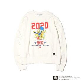 ATMOS LAB x THE SIMPSONS 2020 FAMILY CREW(アトモスラボ ザ シンプソンズ 2020 ファミリー クルー)WHITE【メンズ スウェット】20SP-S