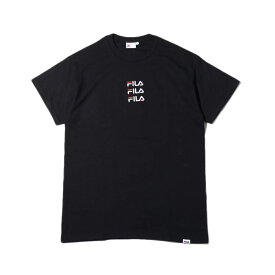 FILA x atmos Triple LOGO embroidery T-Shirt (フィラ × アトモス トリプル ロゴ エンブロイダリー ティーシャツ) BLACK【メンズ レディース Tシャツ】18FA-S