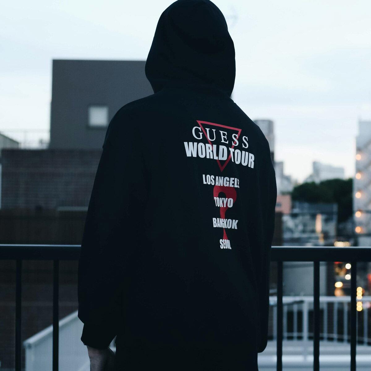 GUESS × atmos MEN'S L/SLV HOODIES WORLD TOUR(ゲス メンズ ロングスリーブ フーディー ワールドツアー)BLACK18FW-S