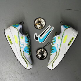 NIKE AIR MAX 90 SE(ナイキ エア マックス 90 SE)WHITE/BLUE FURY-BLACK-VOLT【メンズ スニーカー】20FA-I at20-c