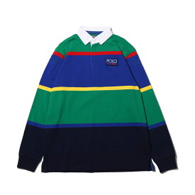 POLO RALPH LAUREN LSYDRUGBY M4-LONG SLEEVE-KNIT(ポロ ラルフローレン LSYD ラグビー M4 ロングスリーブ ニット)GREEN MULTI【メンズ セーター】18HO-I at20-c