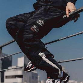 UMBRO FULL-BK & ATMOS BREAKER PANTS(アンブロ フルビーケー アンド アトモス ブレーカー パンツ)ブラック【メンズ ロングパンツ】19FA-S